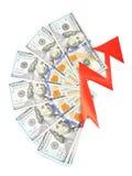 cuentas del Ciento-dólar y una flecha roja Fotografía de archivo