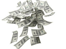 Cuentas del dinero que caen $100 Imagen de archivo libre de regalías