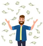 Cuentas del efectivo/del dinero/de moneda que caen alrededor de hombre joven ilustración del vector