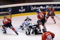 Cuentas del jugador de hockey Imágenes de archivo libres de regalías