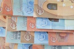 Cuentas euro, dinero Fotos de archivo
