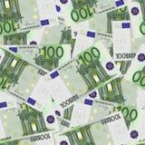 100 cuentas euro inconsútiles Imágenes de archivo libres de regalías