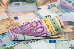 cuentas euro mezcladas de las porciones Imagen de archivo libre de regalías