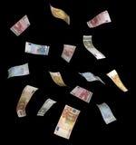 Cuentas euro que caen Fotografía de archivo libre de regalías