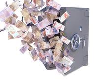 Cuentas euro que vuelan hacia fuera seguro Foto de archivo libre de regalías