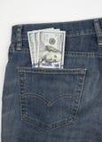 $100 cuentas los E.E.U.U. en bolsillo Fotografía de archivo