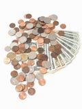 Cuentas y monedas de los E.E.U.U. Imágenes de archivo libres de regalías