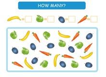 Cuente cuántas frutas y verduras Escriba las respuestas Cuenta del juego para los niños preescolares Ilustración del vector ilustración del vector
