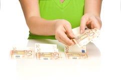 Cuente el euro Foto de archivo libre de regalías