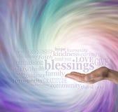Cuente su nube de la palabra de las bendiciones foto de archivo libre de regalías