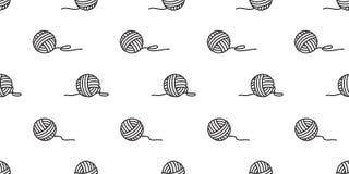 Cuente un cuento las bolas inconsútiles del vector del modelo de la bola de la bufanda del papel pintado del fondo de las agujas  stock de ilustración