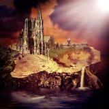 Cuento de hadas. castillo y pueblo de la fantasía Imagen de archivo libre de regalías
