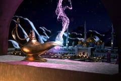 cuento de hadas 3D de la lámpara mágica Ilustración del Vector