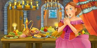 Cuento de hadas de la historieta con la princesa en el castillo por la tabla por completo de comida que mira y que sonríe stock de ilustración