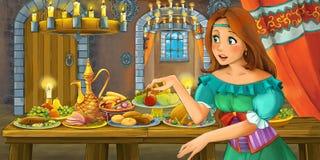 Cuento de hadas de la historieta con la princesa en el castillo por la tabla por completo de comida que mira y que sonríe ilustración del vector