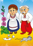 Cuento ucraniano, abuela y abuelo en el pueblo Fotos de archivo libres de regalías