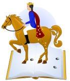Cuentos libro, príncipe que monta su caballo Imágenes de archivo libres de regalías