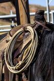 Cuerda atada para ensillar Fotos de archivo