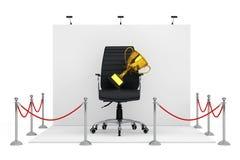 Cuerda de la barrera alrededor de la cabina de la feria profesional con Boss de cuero negro Off libre illustration