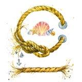 Cuerda de la concha marina y de la nave Fotos de archivo libres de regalías