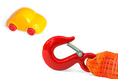 Cuerda de la emergencia y coche del juguete Imagen de archivo libre de regalías