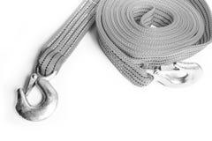 Cuerda de la remolque de cuerda para los coches en un fondo blanco fotografía de archivo
