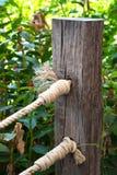 Cuerda de madera de la cerca y del nudo Fotos de archivo libres de regalías