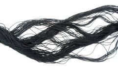 Cuerda de rosca negra del algodón Imagen de archivo