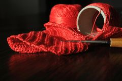 Cuerda de rosca roja Fotografía de archivo