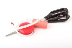 Cuerda de rosca y accesorios de costura Imágenes de archivo libres de regalías