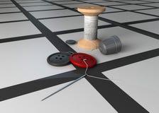 Cuerda de rosca y un botón. ilustración del vector