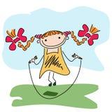 Cuerda de salto de la muchacha Ilustración del Vector