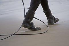 Cuerda de salvamento de la persona que practica surf Fotografía de archivo