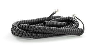 Cuerda de teléfono negra de la extensión del adaptador Fotos de archivo