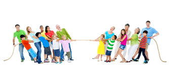 Cuerda de tracción grande del grupo de personas Imagen de archivo
