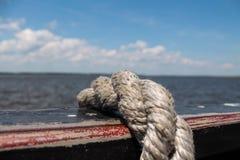 Cuerda en cubierta de barco Fotografía de archivo