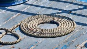 Cuerda en espiral en la cubierta Fotos de archivo libres de regalías