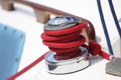 Cuerda en un barco de vela Foto de archivo libre de regalías