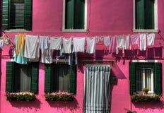 Cuerda para tender la ropa de Burano Imagen de archivo