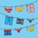 Cuerda para tender la ropa de la ropa interior Fotografía de archivo