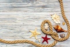 Cuerda y estrellas de mar marinas en los tableros blancos Fotografía de archivo