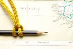 Cuerda y mapa Fotografía de archivo libre de regalías