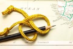 Cuerda y mapa Foto de archivo