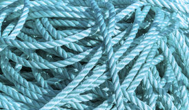 Cuerdas azules en un embarcadero Fotos de archivo libres de regalías
