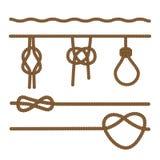 Cuerdas conectadas por los diferentes tipos de nudos, Ilustración del vector libre illustration