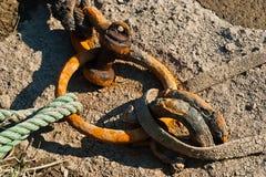 Cuerdas del amarre, puerto de Tetenbuell Imagen de archivo libre de regalías