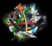 Cuerdas electrónicas del alambre de la tecnología Imagenes de archivo