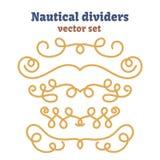 Cuerdas náuticas Divisores fijados Nudos decorativos del vector Elementos ornamentales de la decoración con la cuerda Imagen de archivo