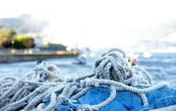 Cuerdas y engranaje para pescar Fotos de archivo libres de regalías