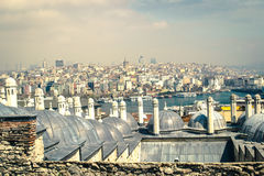 Cuerno de oro y panorama de Galata imagen de archivo libre de regalías